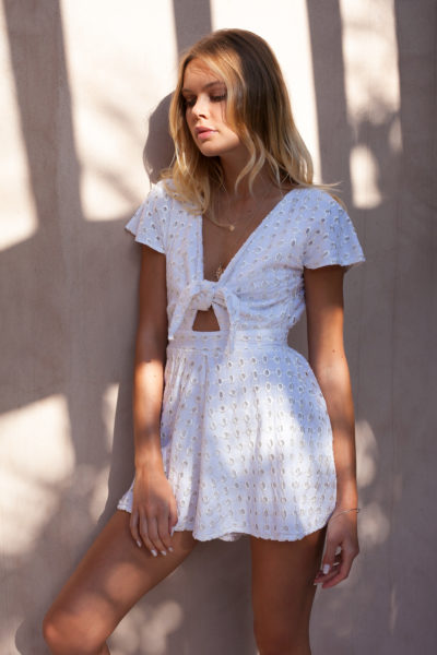 Ruby-White-Lace-Playsuit-Tie-Front-shirt-womans-romper-buy-online