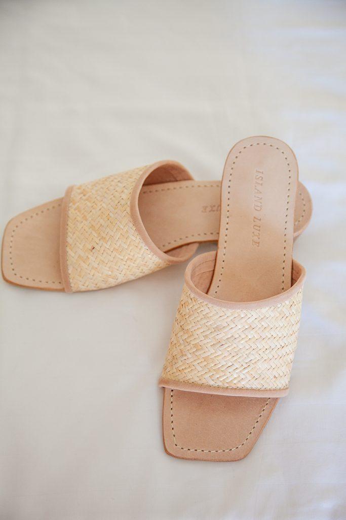 Rattan Mid Heel Sandal